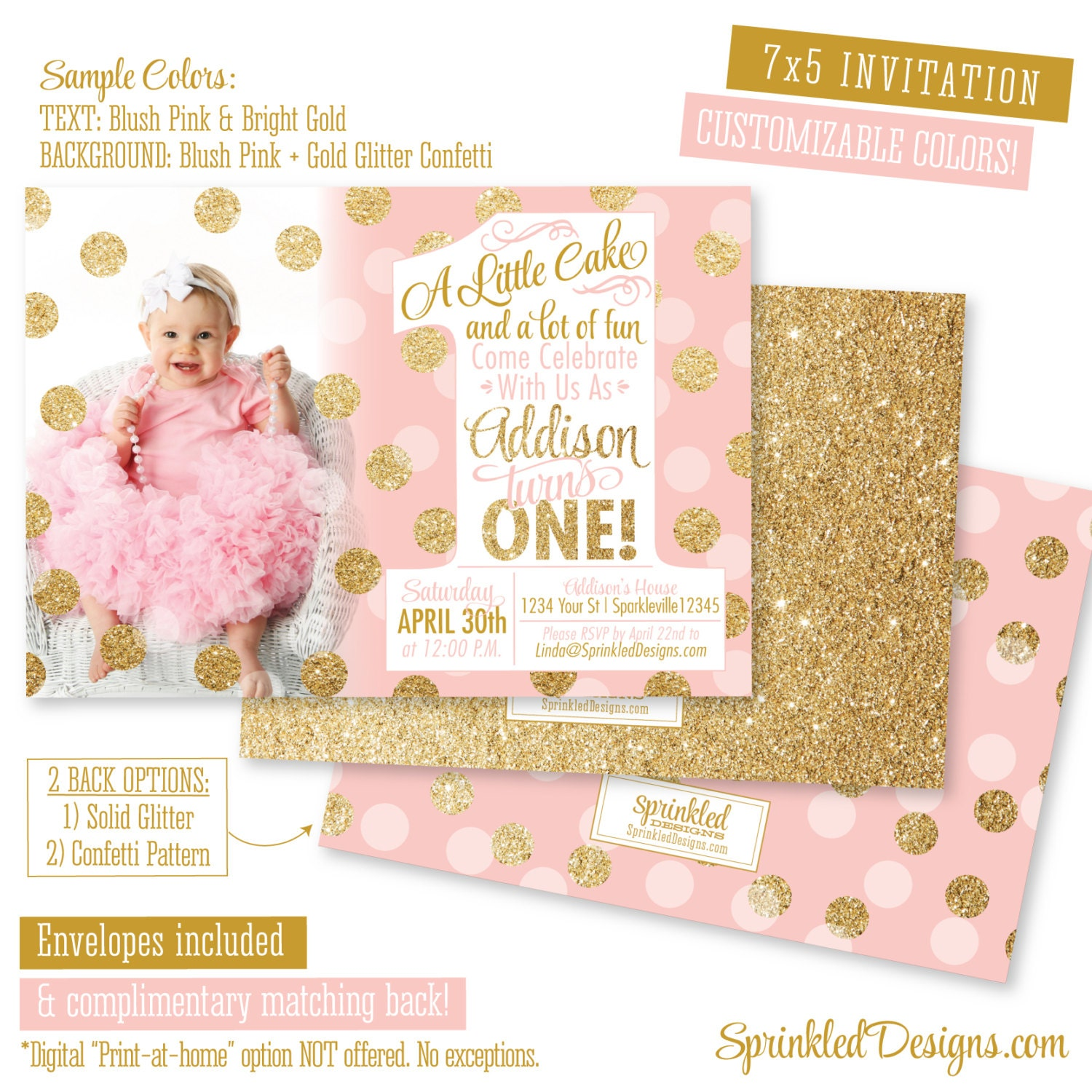 Personalised New Baby Or Birthday Card By Mint Nifty: Pink And Gold First Birthday Invitation Pink & Gold 1st