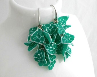 Dangle Earrings, Cluster Handmade Jewelry Emerald Green  Long Fashion Polymer Clay