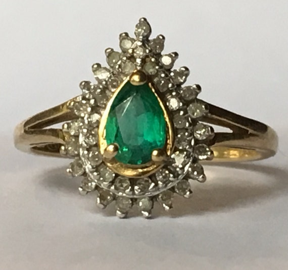 antique emerald ring halo 10k by scotchstreetvintage
