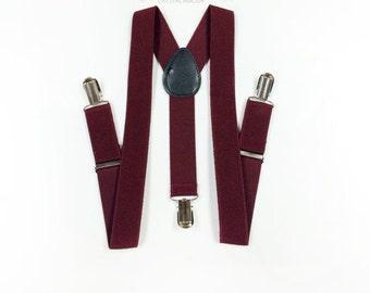 boys suspenders, burgundy suspenders, toddler suspenders, boy suspenders, boys suspenders, dark wine red suspenders [Burgundy]