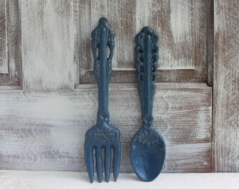 Large Fork And Spoon Kitchen Wall Decor, Oversized Utensils Dining Room  Decor, Cast Iron