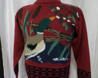Duck Sweater, Duck Hunting (Size: Women's Small) Deep Red Sweater, Mallard, Duck Hunter, 100% Acrylic, Ducks Unlimited