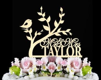 Rustic Wedding Cake Topper, tree with bird wedding cake topper, personalized Wooden Cake Toppers, custom name mr mrs wedding cake topper