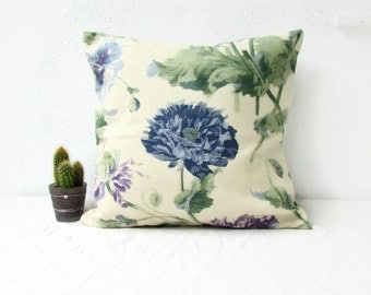 Floral cushion cover, 16 inch pillow cover, Blue purple flowers Laura Ashley fabric, British fabric, floral throw pillow, handmade in the UK