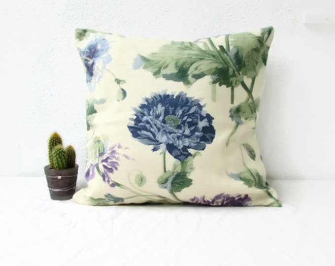 Blue and purple Floral cushion cover in Laura Ashley fabric, handmade in the UK