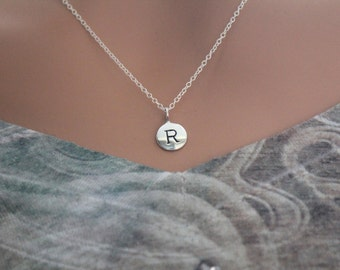 Sterling Silver Simple R Initial Necklace, Silver Stamped R Necklace, Stamped R Initial Necklace, Small R Initial Necklace, R Initial Charm