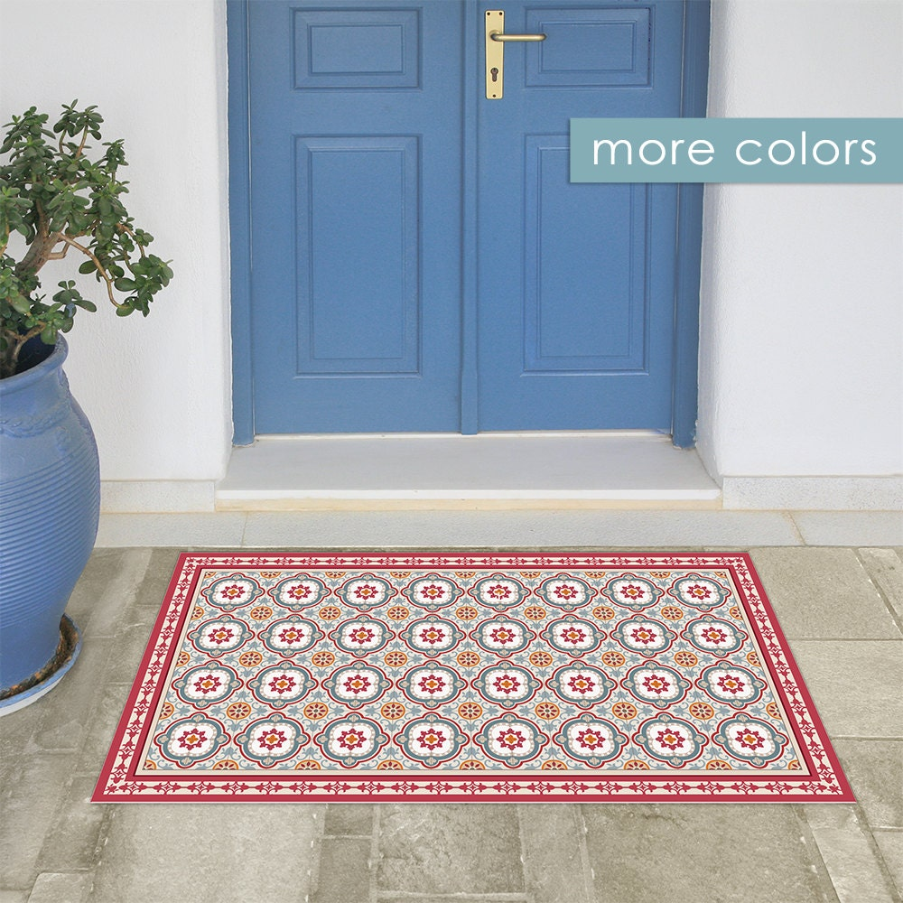 spanische fliesen muster gedruckt auf pvc teppich rote und. Black Bedroom Furniture Sets. Home Design Ideas