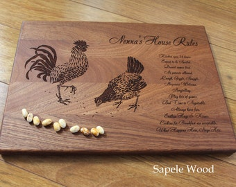 Personalized Cutting Board Grandma's Rules Mother's Day Gift for Mom Kitchen Decor Chickens Roosters Rustic Decor