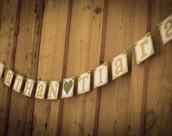 WEDDING banner Bride and Groom Name Banner or Rustic Wedding sign