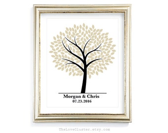 Wedding Tree Guestbook Print / 16x20 / 180 Guests / Signature Guest Book Alternative / Guest Book Poster / Personalized Wedding Print