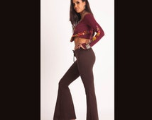 Brown 70s Flares- Boho Hippie with Lace (Bell Pants)