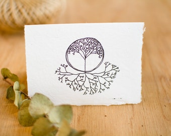 Card made from recycled handmade paper with Tree Roots design by Cliffwatcher