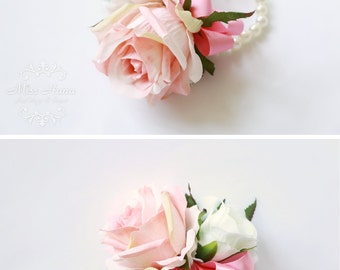 Pink Rose Wrist Corsage, Bridesmaid corsage, pearl corsage, wedding corsage, pearl wrist corsage, maid of honor corsage,  pink boutonnieres
