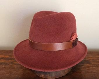 Hand-blocked women's fedora hat