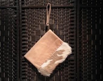 Cowhide clutch,tan leather wallet, cow hide, pouch, cowhide purse