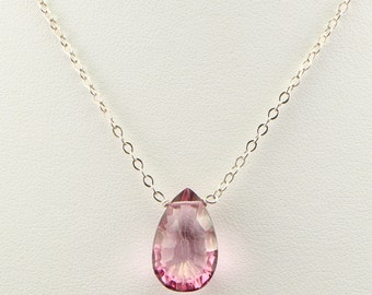 Pink Mystic Topaz Gemstone Pear Shaped Briolette on Sterling Silver Chain