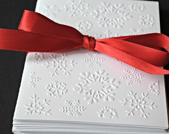 Embossed Christmas Cards, Winter Greeting Cards, Embossed Snowflake Cards, Holiday Thank You Notes, Embossed Notecard Set,  Xmas Card
