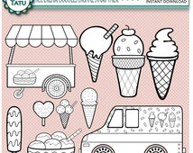 Ice Cream Doodles Digital Stamp Pack - Black and White Clipart / Hand Drawn / Cute / Birthday / Line Art /Scrapbook - Instant Download