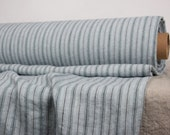 Pure 100% linen fabric. 200gsm. Striped, duck egg pastel greenish and black.  Middle weight, washed-softened.  Soft, smooth.