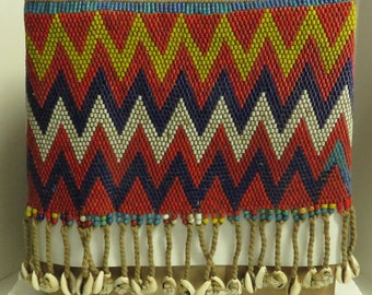 Vintage Estate African Hand Colorful Beaded Chyad Kirda Loin Skirt w Shells