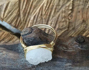 Druzy Quartz Wire Wrap Ring / Druzzy/ Druzy/ Drusy -Qty 1