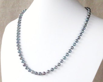 USA Genuine Freshwater Rainbow Pearl Necklace with Matching Earrings in Solid Sterling Silver