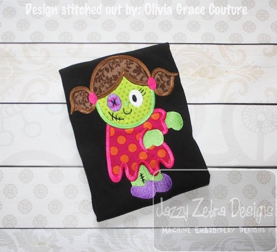 Zombie Girl Doll Appliqué Embroidery Design - halloween appliqué design - zombie appliqué design - girl appliqué design