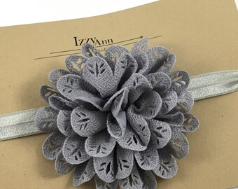 Gray Flower Girl Headband,Baby girl headband,Toddler Headband,Newborn Headband,Gray Flower Hair Clip,Gray Flower girl Headband,Gray Bow Clip