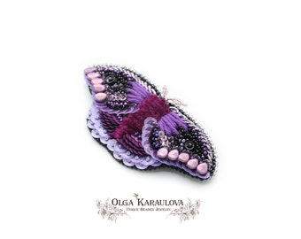 Moth jewelry brooch, purple silk brooch, embroidery brooch, violet brooch, purple brooch, butterfly brooch, insect brooch