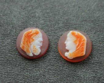 Antique Agate Cameos.  Pair of Man, Woman.  1800s.