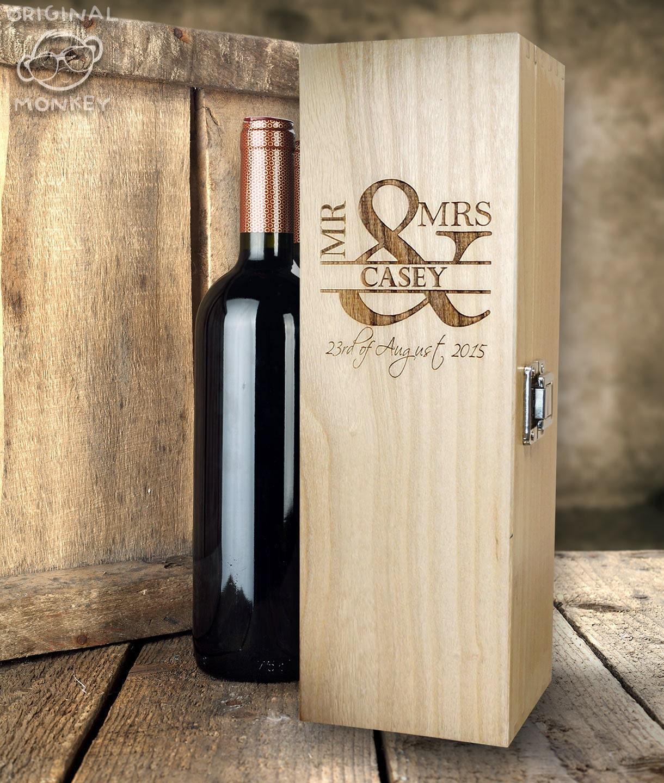 Personalised Wedding Gift Wine Box Mr Amp Mrs Design Wedding