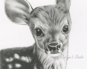 """Charcoal Drawing, Giclee Print Deer Drawing 8""""x10"""", Deer Art, Fawn Drawing, Fawn Art, Baby Deer Sketch, Nursery Art,  Charcoal Deer"""