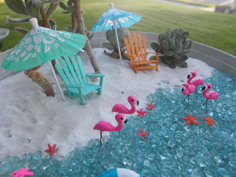 Miniature flamingos fairy garden cake topper terrarium for Beach themed backyard decor