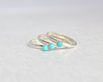 Turquoise Ring.  Sterling Silver Ring with Turquoise Stone.  Birthstone Ring.  Simple silver ring.  Everyday wear ring.