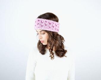 Tiny Hearts Headband // Blossom and Fig  // Chunky Knit Earwarmer