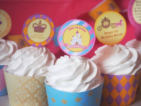 PRINCESS - PERSONALIZED - Child - Birthday - Party - Pink - Gold - Blue - Cupcake Toppers - Baby - Girls - PRINTABLE - Pdf - Digital
