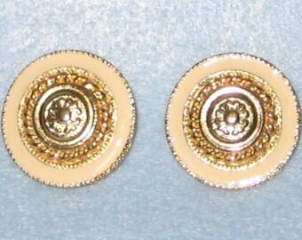 Beige Enamel Stud Earrings.