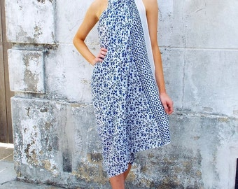 Blue and White Cotton Sarong or Wrap Skirt: Hand Block Printed & Fair Trade