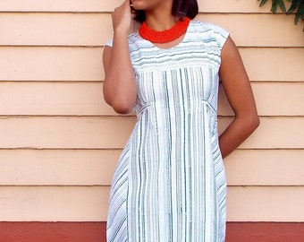 Blue and White Cotton Striped Shift Dress with Pockets and Fair Trade