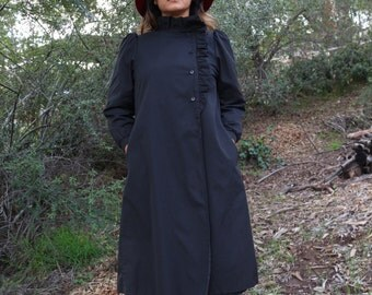 Vintage Black Nylon Trench Coat with Ruffle Neckline and Side Buttons