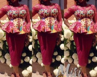 Ankara 3/4 Lace Sleeve Fitted Morayo Top