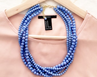 The Laudine Periwinkle Statement Necklace, Layered Statement Necklace, Multistrand Necklace, Blue Statement Necklace, Chunky Blue Necklace