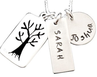 Tree Family -  Hand Stamped Mommy Jewelry - Personalized Jewelry - Sterling Silver Necklace -