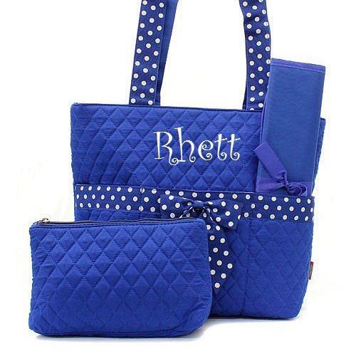 monogrammed diaper bag for boy royal blue white polkadots. Black Bedroom Furniture Sets. Home Design Ideas