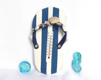 sandal barometer, nautical beach sandal decor thermometer with jewelry, dolphin, seahorse and beads, beach wedding favor