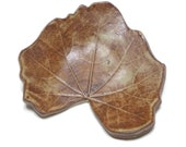 Ceramic Hollylock Leaf - pottery - Oolong shino - tan and brown - ring dish - spoon rest