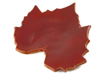 Grape Leaf dish - pottery - deep red - ring dish - spoon rest - fall leaf - fall decor