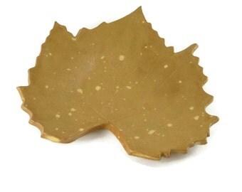 Grape Leaf dish - pottery - tan speckled - steampunk tan - ring dish - spoon rest - fall leaf - fall decor
