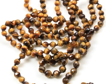 Stunning Vintage Faceted Tigers Eye Bead Necklace Long Double Up