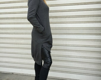 Black Extravarant Maxi Asymmetric Hooded Top / Cotton Jersey Tunic Dress with Pockets / Women Sweatshirt - MD 1212